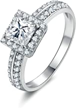 Aokarry Ladies Jewelry 925 Sterling Silver Promise Ring Customize Princess & Round White Cubic Zirconia Size 5-12