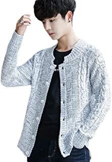 Howely Men Button Down Cable Knit Knitwear Loose-Fit Skinny Jacket Cardigans