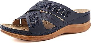 Sandali in Pelle Donna Estivi Piattaforma Pantofole da Spiaggia Leggere Punta Aperta Comodi Antiscivolo Ciabatte con Zeppa