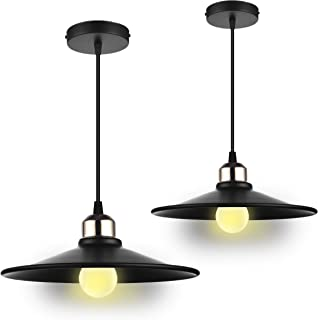 Classic Industrial Modern Style Pendant Lamp Loft High Ceiling Lighting Hanging Fixtures, in Matte Black Metal Shade, E26 Medium Screw Socket, Dining Room, Kitchen Island Bar Accent Light (Pack of 2)