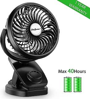 SkyGenius Battery Operated Clip on Mini Desk Fan, Rechargeable Baby Stroller Fan(2019 New Version)