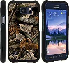 TurtleArmor   Compatible with Samsung Galaxy S6 Active Case   G890 [Slim Duo] Two Piece Hard Cover Slim Snap On Case on Black - Tree Leaves Camouflage