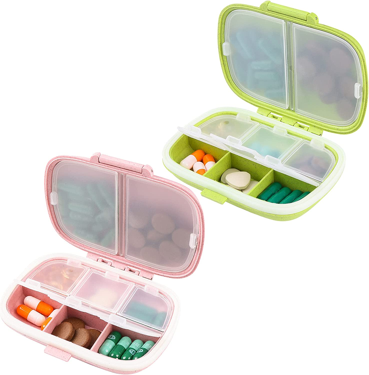 2 Credence Pack Daily Pill Case Organizer Compartment Import Me 8 Drug Box
