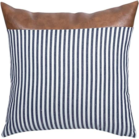 Navy /& Beige Striped Pillow Cover with Faux Leather Accent.