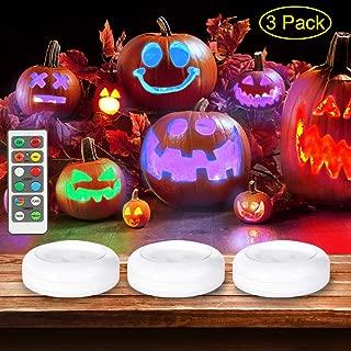 Litake Halloween Pumpkin Lights with Remote & Timer, Color Changing RGB JackoLantern Lights,Battery Operated Halloween Decor Lights Indoor Outdoor,3 Packs