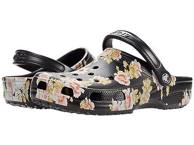 Crocs Classic Clog Seasonal Graphic (Black/Floral) Clog Shoes