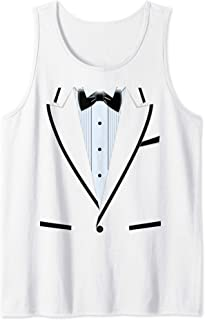 Funny Bright Tuxedo Black Bow And Blue Tank Top