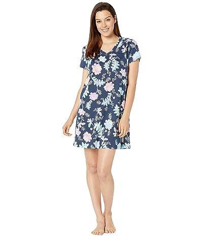 Karen Neuburger Sunday In Sorrento Short Sleeve Nightshirt (Floral/Deep Navy) Women