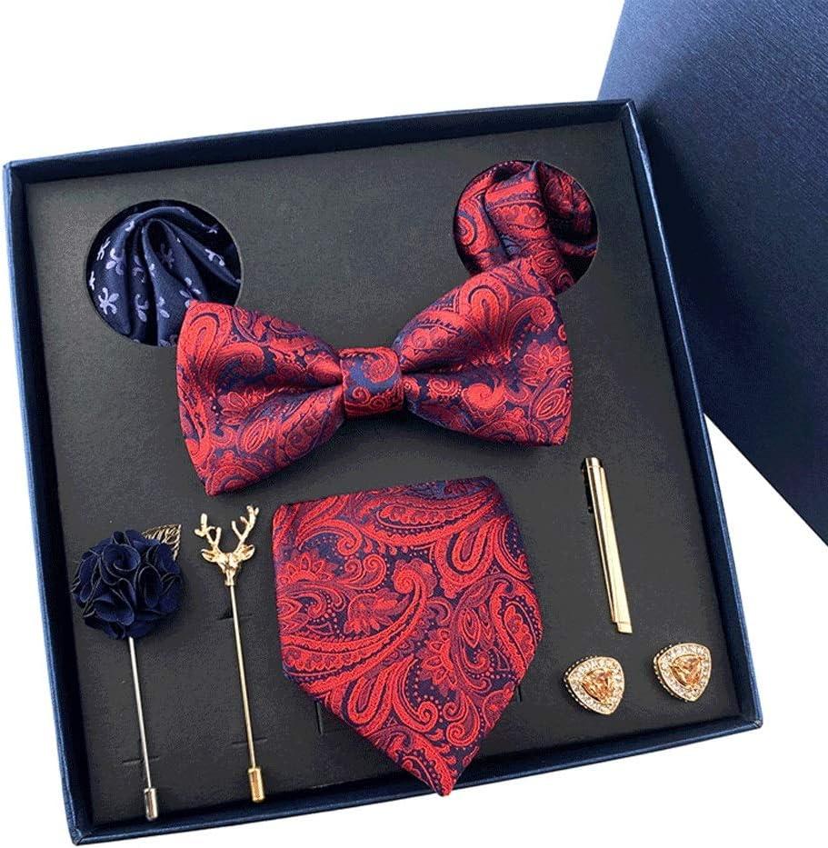 NSXKB Wedding Men Neck Ties Gift Box Packing Men Necktie Pocket Square Silk Tie Set Cufflinks Handkerchief (Color : E)