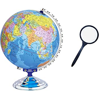 MOM'S GADGETS MG-879A Globe for Office Table/Globes for Student/World map Globe/Home Decor/Office Globe/Political Globe/Globe for Kids (8 Inch Globe with Lens)