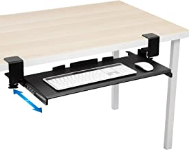 Mount-It! Clamp Keyboard Tray - Ergonomic Under Desk Pull Out Keyboard and Mouse Platform with No-Drill Easy Installation - Slides Under Desk Increase Desk Space - 27 Inch Wide