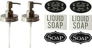 Milkweed Farms 2 Pack Premium Anti Rust Stainless Steel Mason Jar Soap Dispenser Lid with Waterproof Labels (2, Pump Lids)