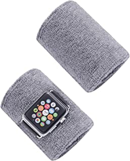 Sweatband for Apple Watch 42mm 44mmm Sports Strap Wristbands for Iwatch Series 5 4 3 2 1 Watchband Belt Cotton Armband for Sports Lovers (Gray, 42mm 44mm)
