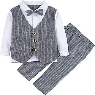 Pantaloni Formale Ragazzo Abito del Cerimonia Completo dei Ragazzi Convenzionale Gilet Camicia 3 Pezzi DAZISEN Smoking dei Bambini