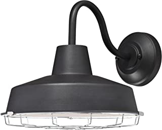 Westinghouse Lighting 6204700 Academy One-Light LED Outdoor Wall Fixture, Textured Black Finish with Chrome Cage, Indoor
