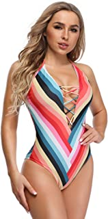 Vibesicily Women Lace Up One Piece Swimsuit V Neck Bathing Suits Backless Swimwear Monokini Swimsuits