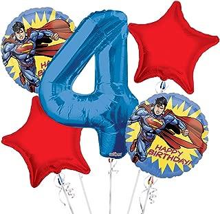Superman Balloon Bouquet 4th Birthday 5 pcs - Party Supplies