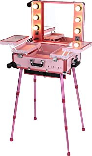 MAYLAN Makeup Train Stand Case With Pro Studio Artist Trolley And Lights, Pink - Medium