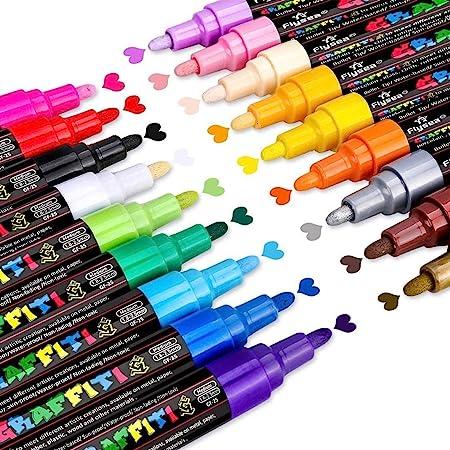 Marqueur Peinture Acrylique, Emooqi 18 couleurs Peinture Acryliques Stylos Marqueur Peinture Permanent Art Peinture Set avec 2 Marqueur Métallique Pens Pour Papier, Textile, Verre, Galet, etc.