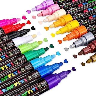 Emooqi Set met stenen schilderstiften, 18 kleuren, acrylstiften, markeerstiften, acrylverf, stiften, 2-3 mm, markeerstifte...