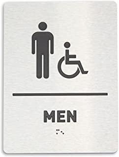 Men Restroom Identification Sign - Wheelchair Accessible, ADA Compliant Bathroom Sign, Raised Icons, Raised Braille, Brushed Aluminum, TCO Inspection Certified (6