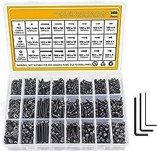 Bestine 1080 stuks M2 M3 M4 aluminium inbusbouten, schroefmoeren, moeren, kit voor sluitringen met zwart assortiment schro...