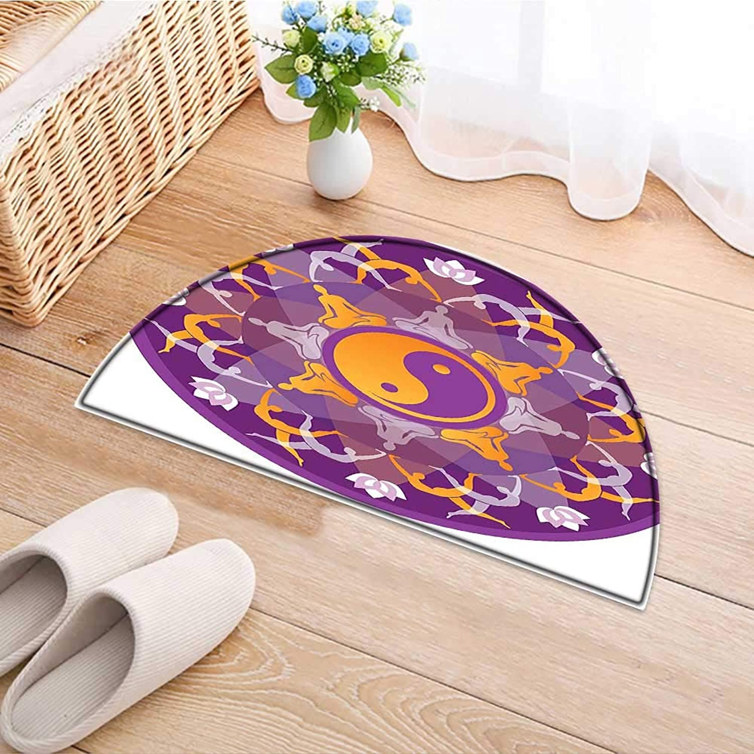 Print Area Rug Mandala Background with Yoga Symbols and Positions Yin Yang Zen Meditation Pattern Purple Perfect for Any Room, Floor Carpet W43 x H30 INCH