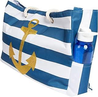 Beach Bag XL, Waterproof Lining, Travel Tote Bag, Zipper Closure, Inner Pockets
