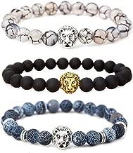 MIKINI Jewelry Black Matte Agate Natural Onyx Stone Dragon Veins Agate Mens Womens Bracelets, Alloy Lion Head 43216-95012