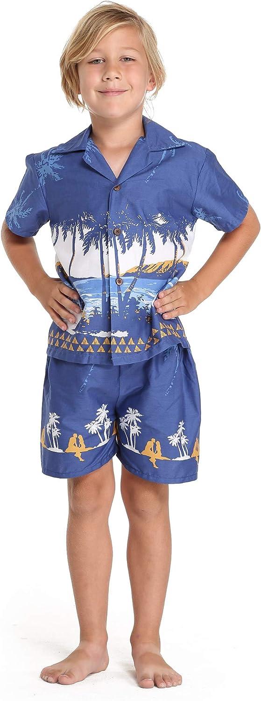 Hawaii Hangover Boy Aloha Luau Shirt Cabana Set in DiamoneHead Palms Beach in Navy