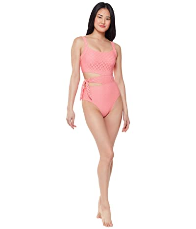 Jessica Simpson Sweet Tooth Solids Asymmetric Tied One-Piece