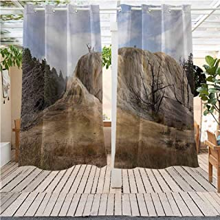 DONEECKL Yellowstone Outdoor Curtains Big Rock in Orange Spring Mound Yellowstone Forest Cloudy Sky Scenery Nature Gazebo W72 x L84 inch Beige Blue