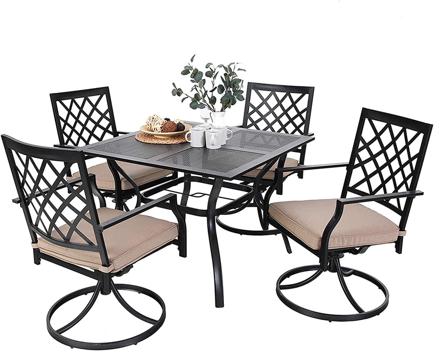 MFSTUDIO Patio 9 Piece Black Metal Outdoor Dining Table Set with 9 Swivel  Chairs and Steel Frame Slat Larger Square 9