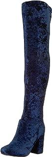 blue velvet knee boots