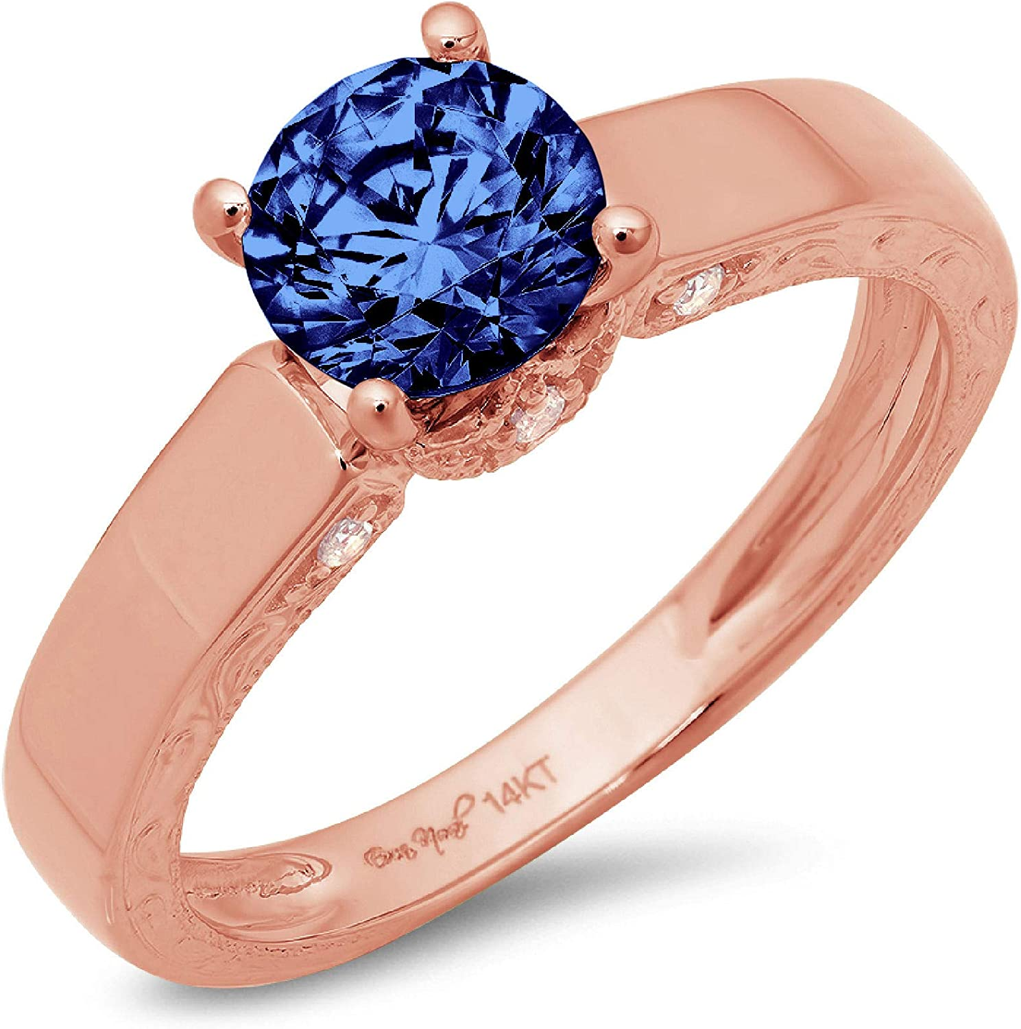 1.70ct Brilliant Round Cut Solitaire Flawless Simulated Blue Tanzanite Ideal Engagement Promise Anniversary Bridal Wedding with accent Designer Ring 14k Rose Gold