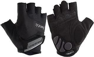 Santic Cycling Gloves for Men Women Half Finger Mittens Anti Slip Shock-Absorbing Foam Padded Breathable Bike Mountain Mitt Fingerless MTB