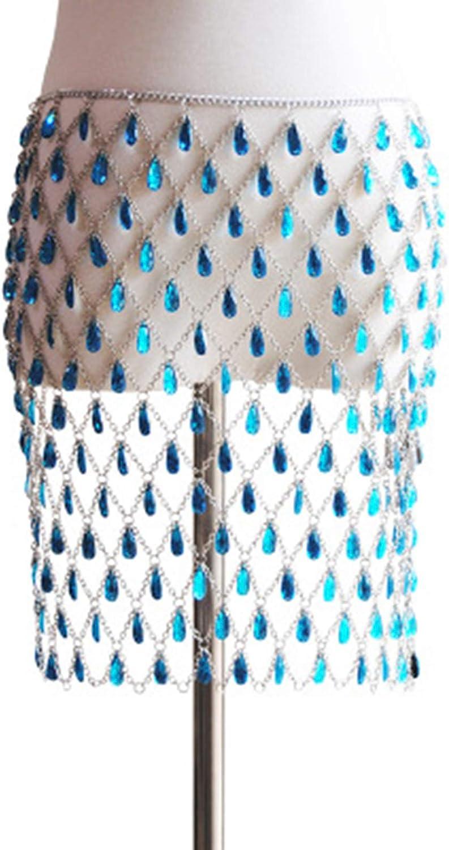 High order LQG Waist Seattle Mall Chain Body Multilayer Gem Drop Hollow Pen Water