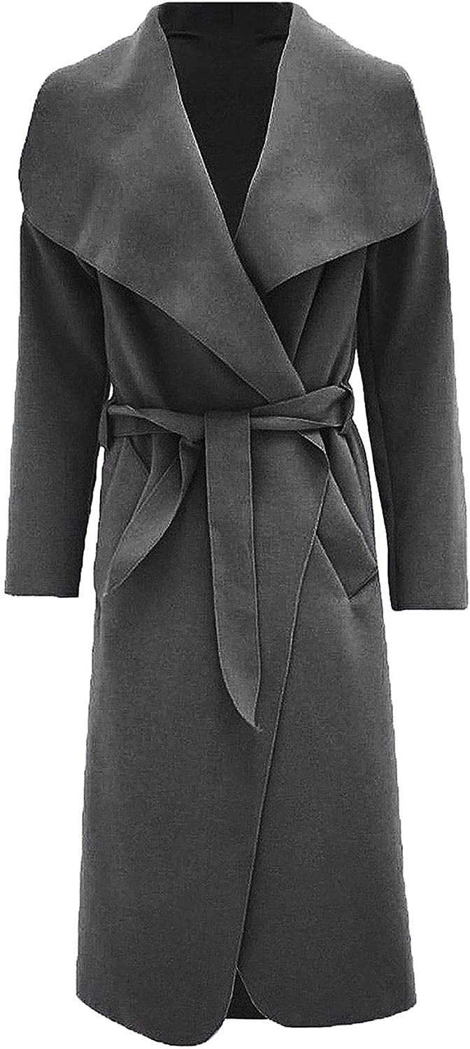 Women Italian Long Duster Jacket Ladies French Belted Trench Waterfall Coat