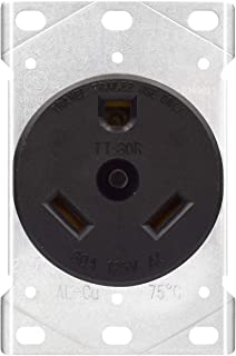 AIDA 30 Amp 2 Pole, 3 Wire 125 Volts TT-30R Grounding Heavy Duty Flush Mount Power RV Outlet Receptacle, UL Listed, 030666