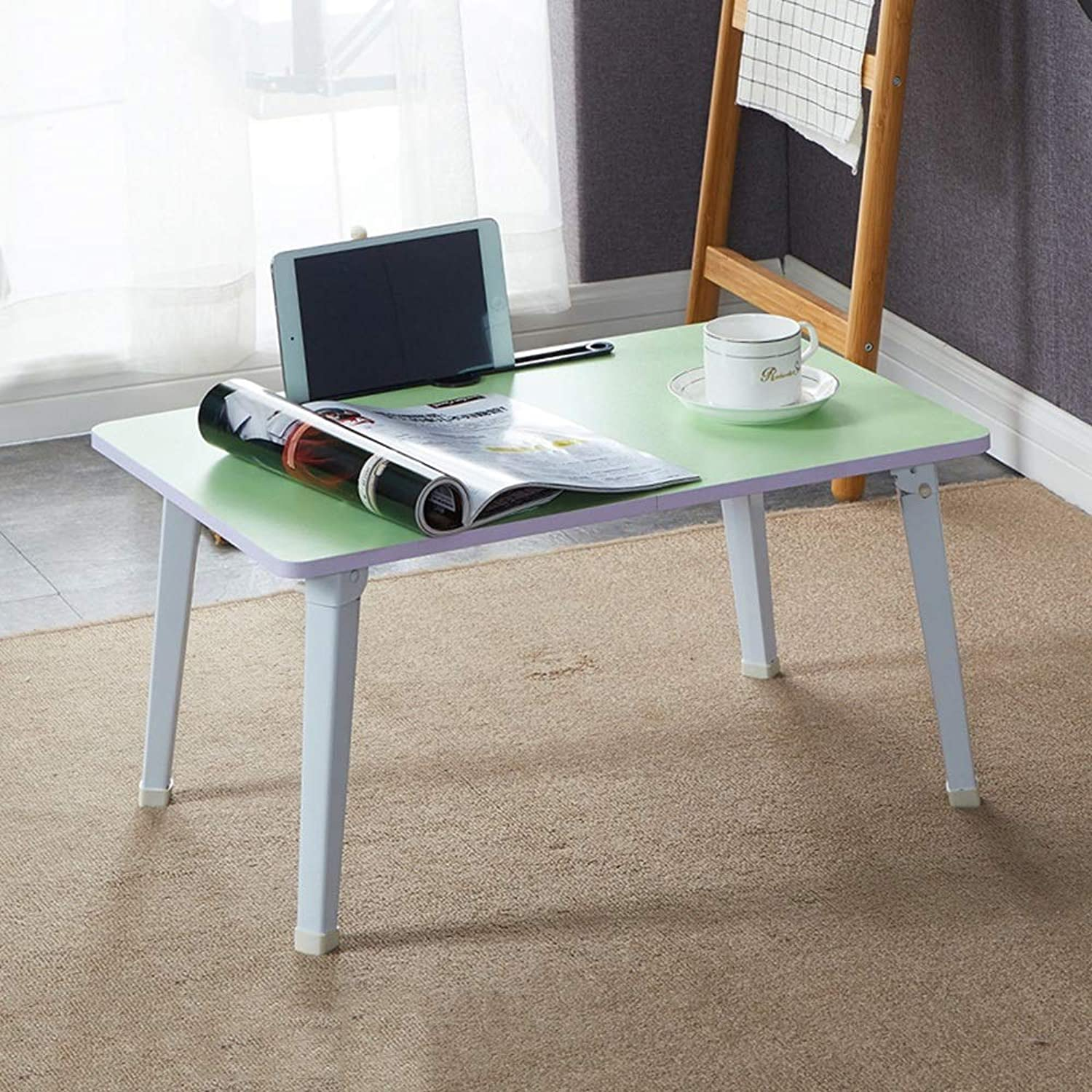 Xiaolin Folding Table Dining Table Office Desk Bed Computer Desk Laptop Table Lounger Study Table Book Table (color   Green)