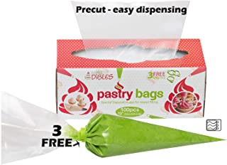 Disposable Piping Bags, 100 Pack - 12 Inch Extra Thick Cake Decorating Pastry Bag Set in Dispenser box, With 3 Free Icing Bag Ties. Microwave safe by CiE