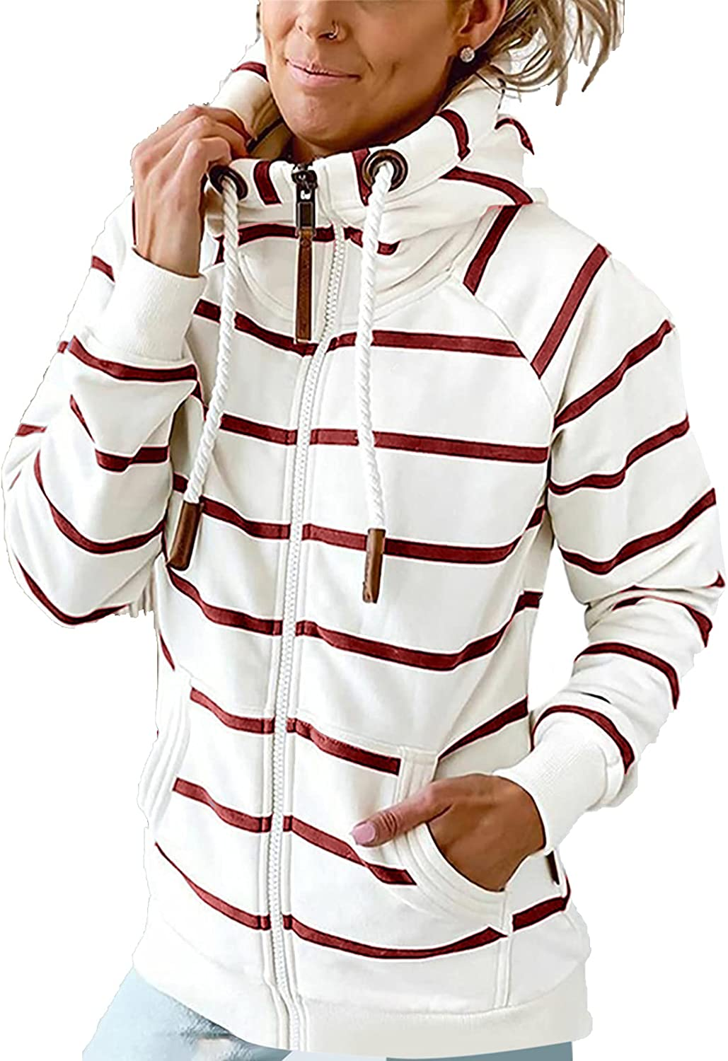 Women's Zipper Turtleneck Special OFFicial mail order price Hoodies Drawstri Casual Printed Stripe