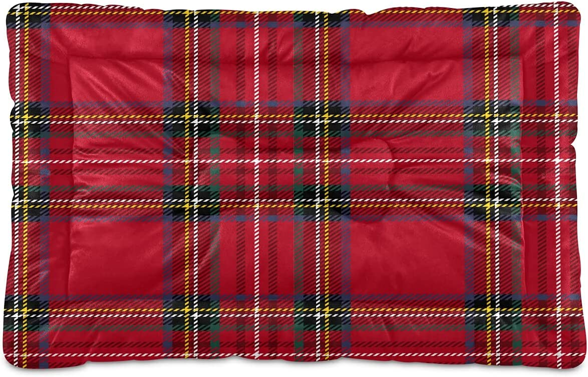 Soft Sale Cute Red famous Plaid Pet Bed for Large Dog Green Patte Cat Medium