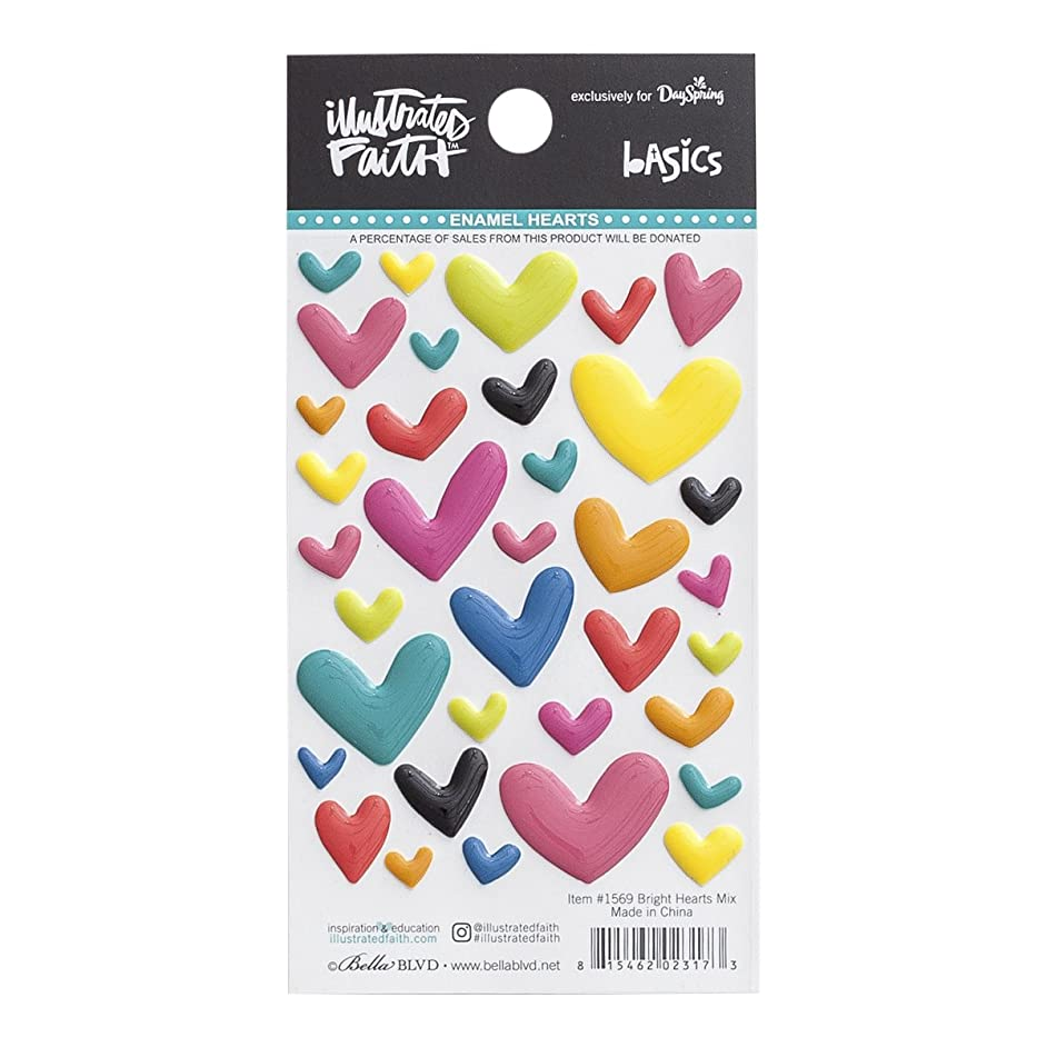 Illustrated Faith - Enamel Heart Stickers - Mixed Colors