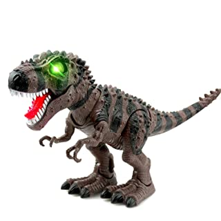 WonderPlay Walking Dinosaur T-Rex Toy Figure with Lights and Sounds Realistic Tyrannosaurus Dinosaur Toys for Kids Battery Operated Brown
