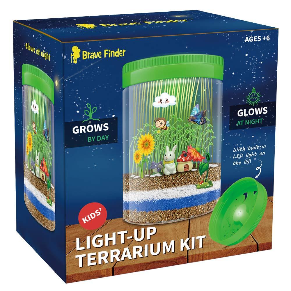 CAPKIT Light-up Terrarium Kit for Kids - Coloful LED Light - Grow Own Habitat in a Jar - Mini Garden Glows at Night - Educational Gifts for Boys & Girls - Gardening Gifts for Kids - Children Toys
