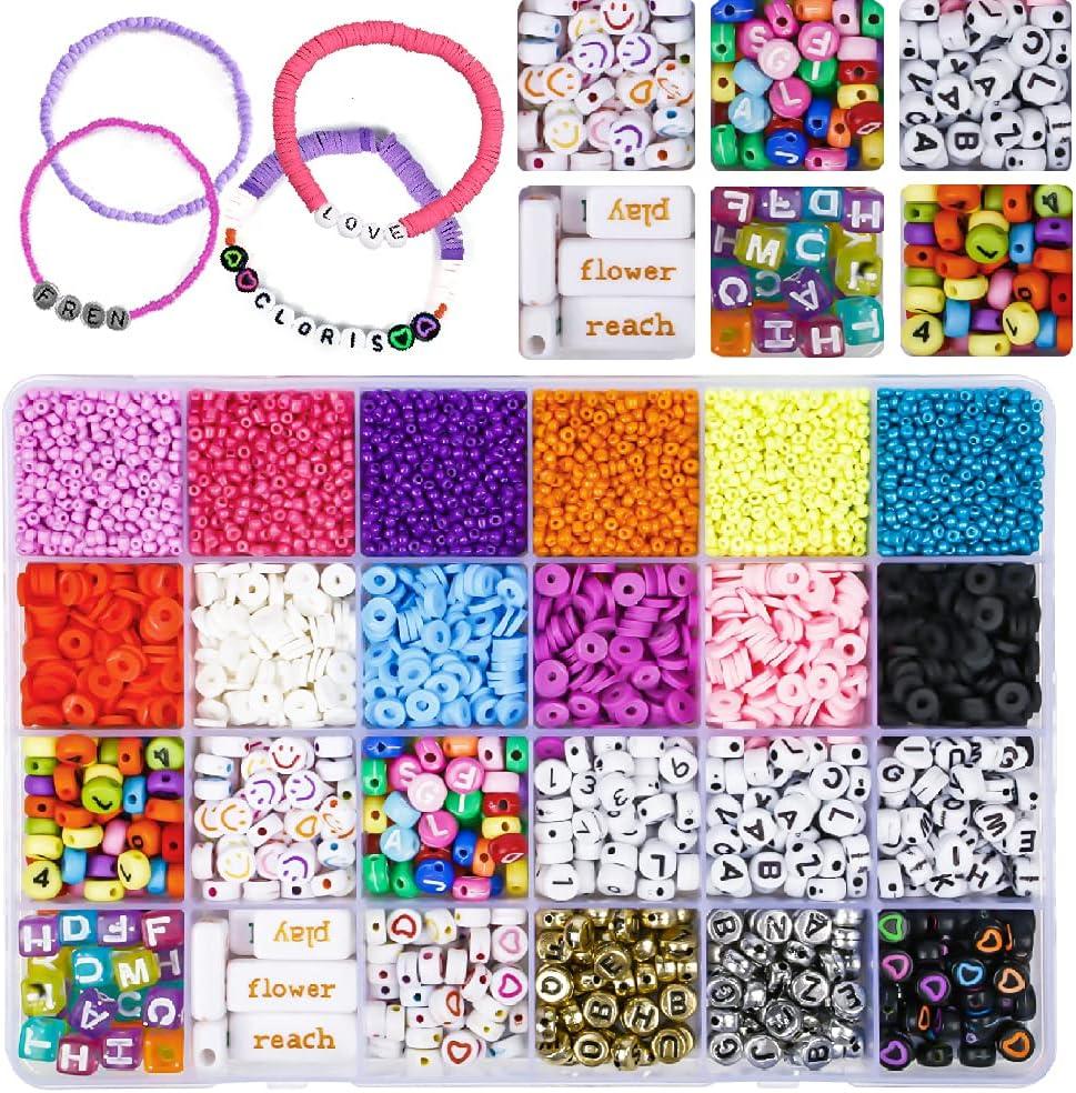 abalorios para hacer collares pulseras, kit cuentas bolas para adultos niños, caja bolitas hacer collares/pulseras/pendientes, 12 color beads for jewelry making