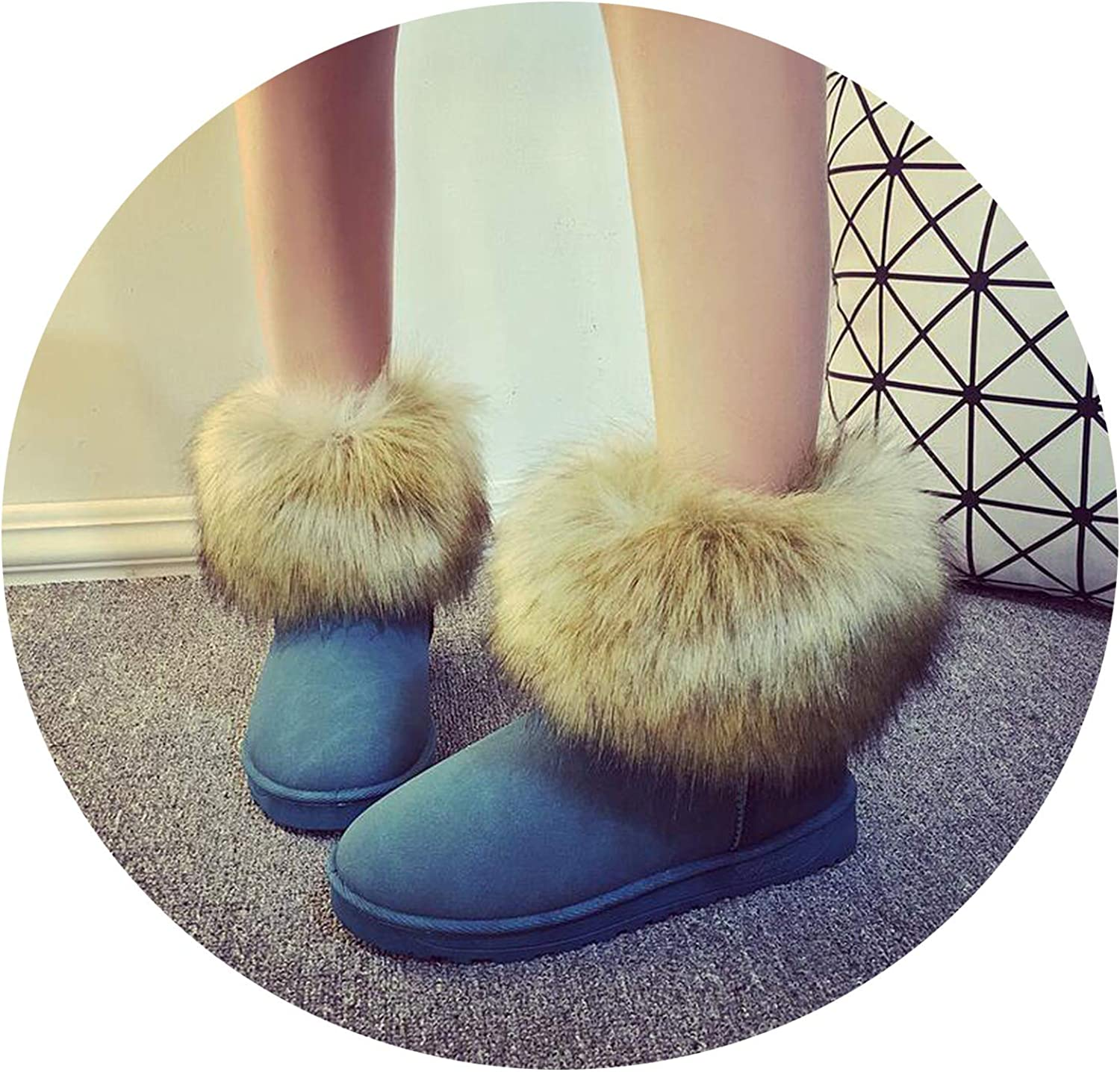 Good-Memories Women Fashion Fox Fur Warm Cotton Short Boots Waterproof Non-Slip Flat shoes