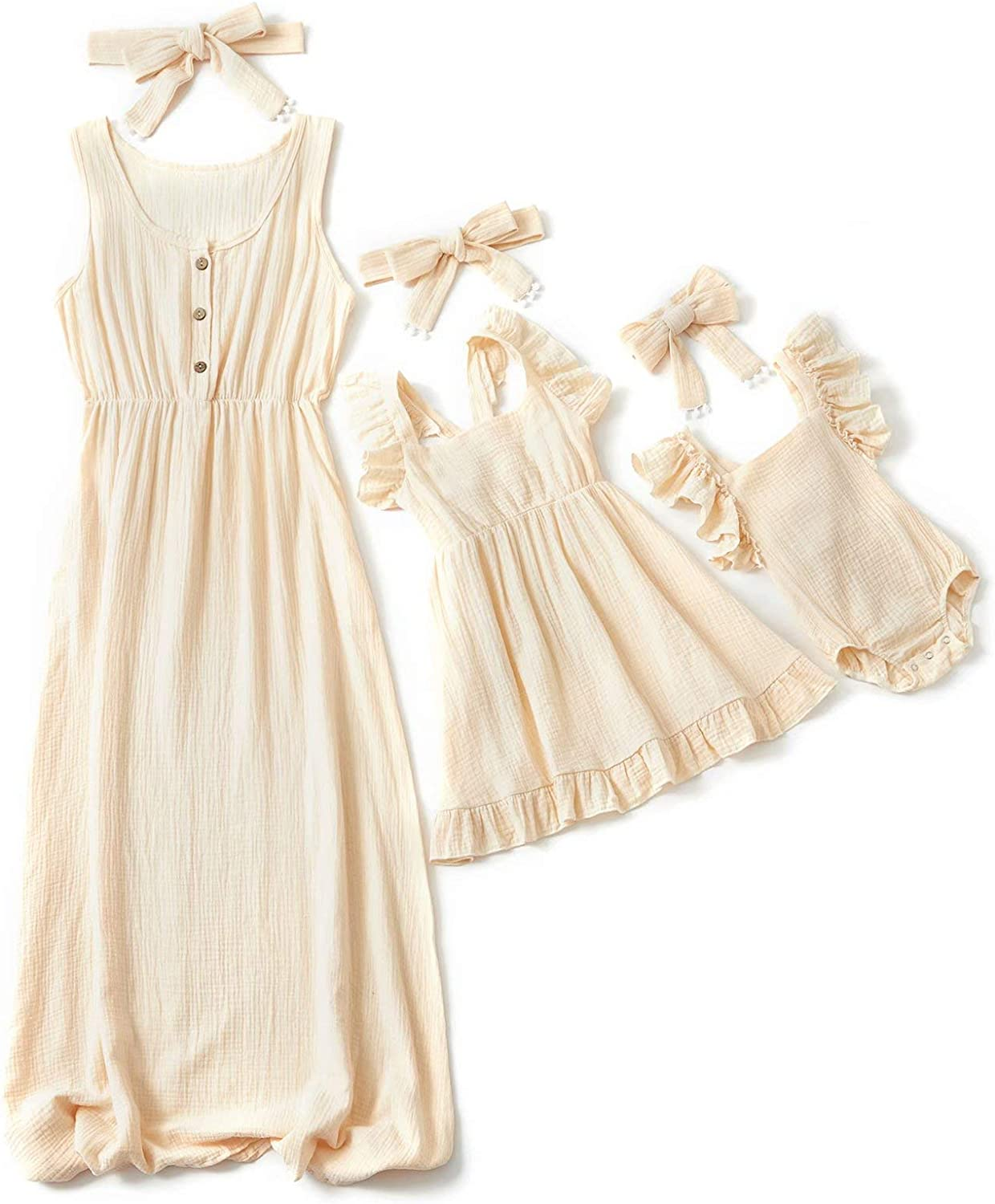 IFFEI Mommy and Me Matching Maxi Dress Sleeveless Matching Outfits with Headband for Mother and Daughter