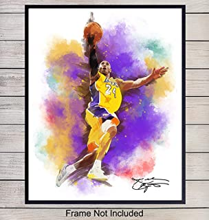 Original Kobe Bryant Watercolor Wall Art Print - 8x10 Wall Decor for Bedroom, Living Room, Gym, Office - Home Decoration Poster or Gift for LA Lakers, Sports, Basketball Fan - Unframed